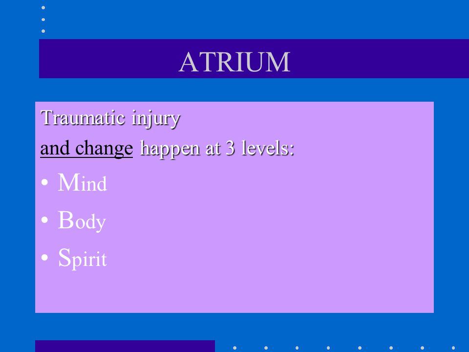 ATRIUM ATRIUM teaches: –Understanding connection between trauma reenactment and addictions –The theory of trauma reenactment: biological and cognitive/emotional impact of traumatic stress –Internalization of early trauma-based relationships