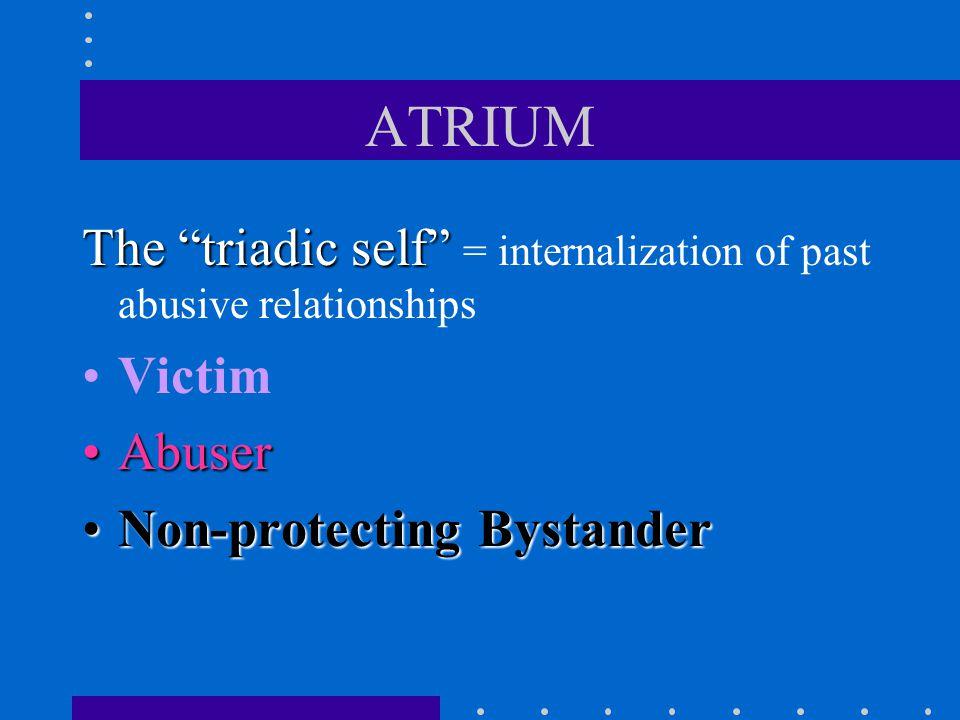 The Internalized Abuser The inner voice representing self-harmful behavior: Drinking Drug abuse Cutting Binge & purge cycle Self-sabotaging sex, harmful relationships, etc.