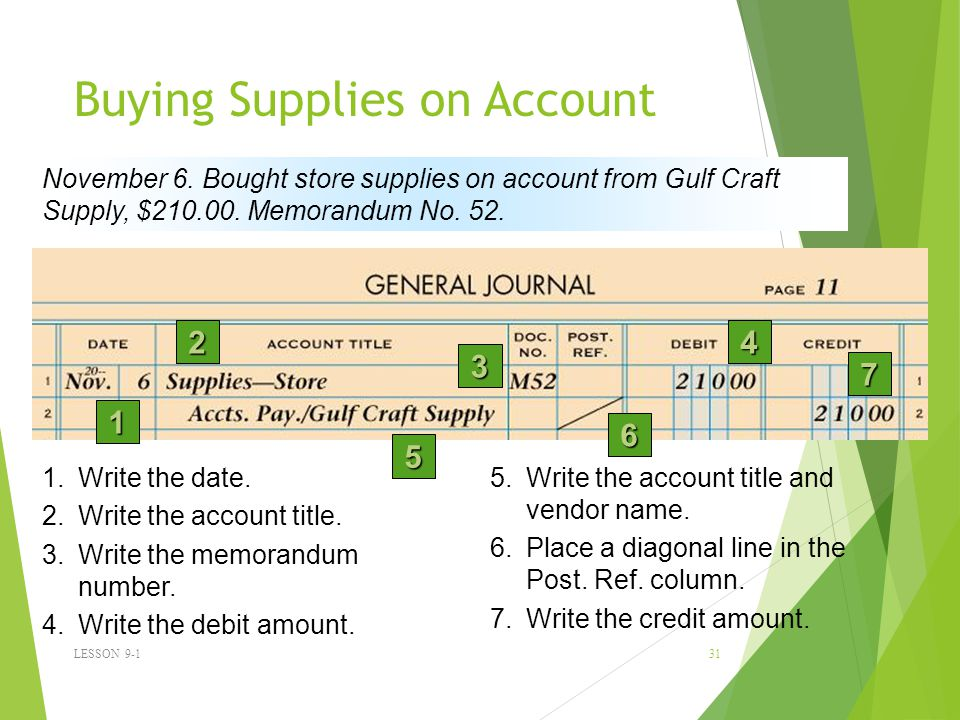 Buying Supplies on Account LESSON 9-1 31 1 2 3 4 5 6 November 6.