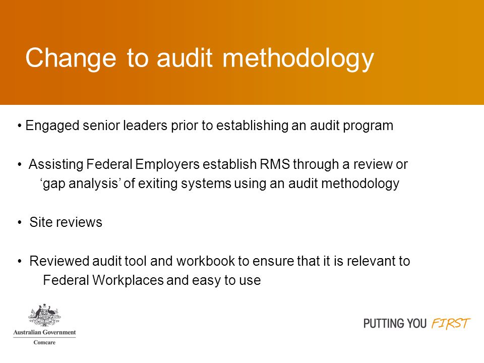 Change to audit methodology Engaged senior leaders prior to establishing an audit program Assisting Federal Employers establish RMS through a review or 'gap analysis' of exiting systems using an audit methodology Site reviews Reviewed audit tool and workbook to ensure that it is relevant to Federal Workplaces and easy to use