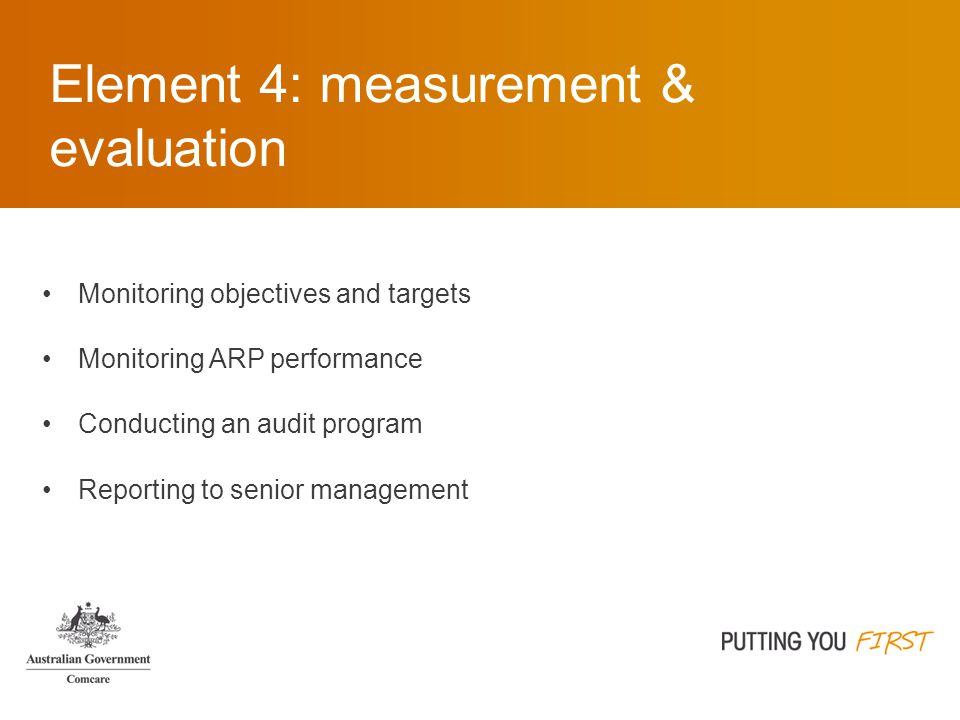 Element 4: measurement & evaluation Monitoring objectives and targets Monitoring ARP performance Conducting an audit program Reporting to senior management