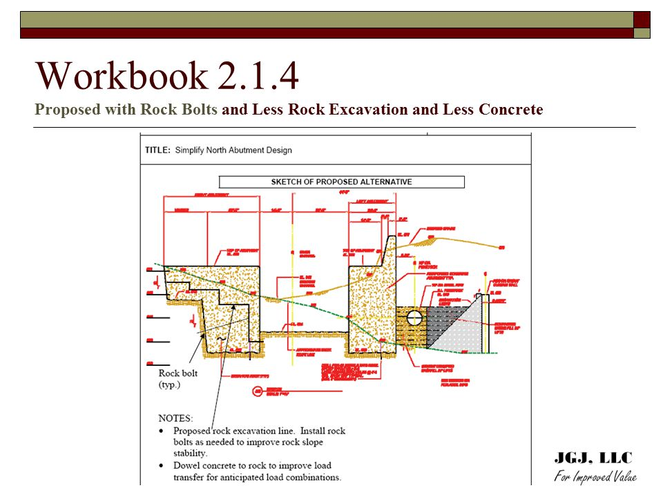 Workbook 2.1.4 Proposed with Rock Bolts and Less Rock Excavation and Less Concrete