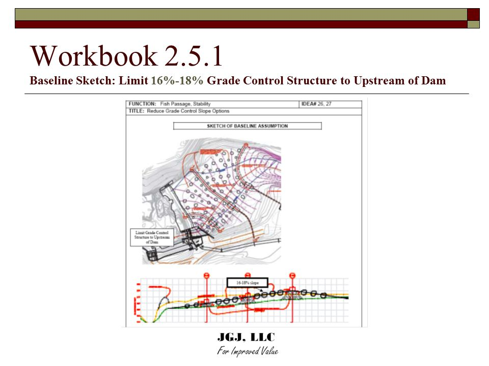 Workbook 2.5.1 Baseline Sketch: Limit 16%-18% Grade Control Structure to Upstream of Dam