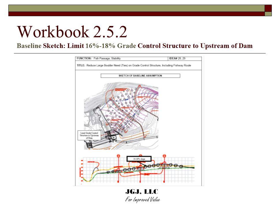Workbook 2.5.2 Baseline Sketch: Limit 16%-18% Grade Control Structure to Upstream of Dam