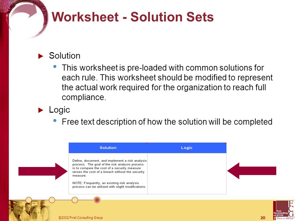 ©2002 First Consulting Group 20 Worksheet - Solution Sets  Solution This worksheet is pre-loaded with common solutions for each rule.