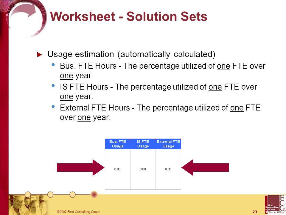 ©2002 First Consulting Group 23 Worksheet - Solution Sets  Usage estimation (automatically calculated) Bus.