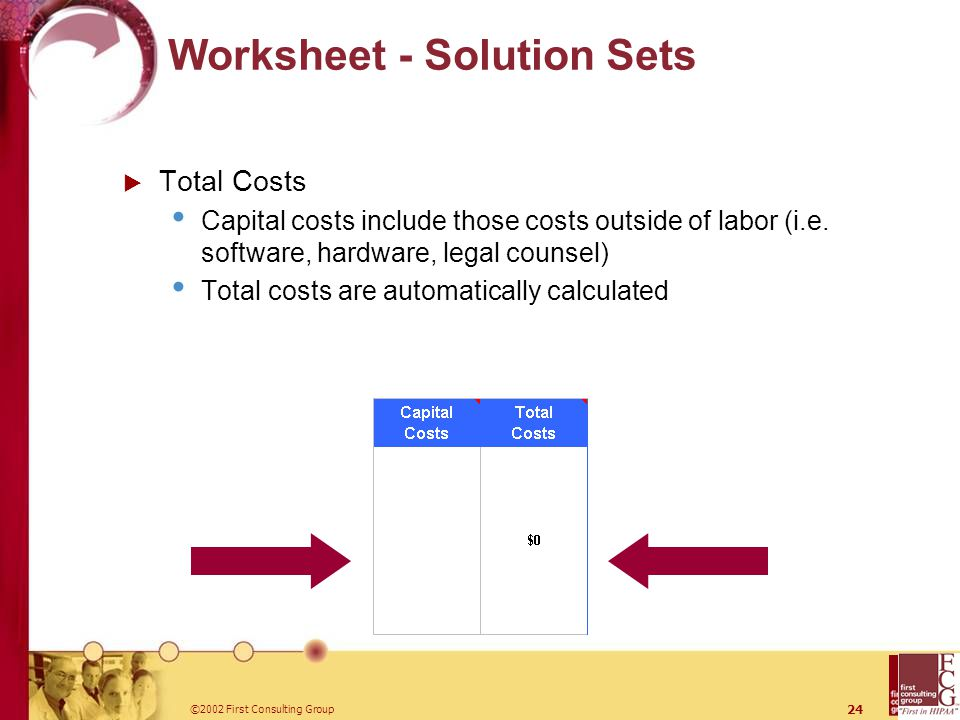 ©2002 First Consulting Group 24 Worksheet - Solution Sets  Total Costs Capital costs include those costs outside of labor (i.e.