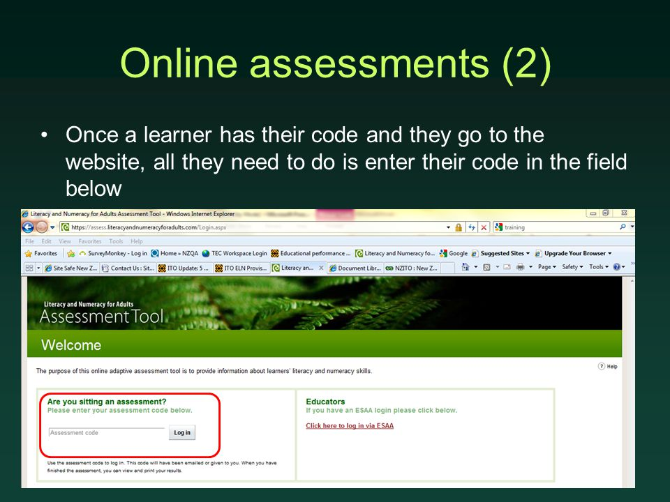 Online assessments (2) Once a learner has their code and they go to the website, all they need to do is enter their code in the field below