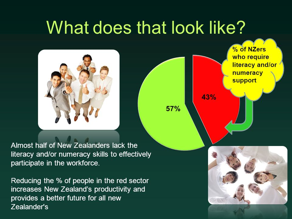 What does that look like? Almost half of New Zealanders lack the literacy and/or numeracy skills to effectively participate in the workforce. Reducing