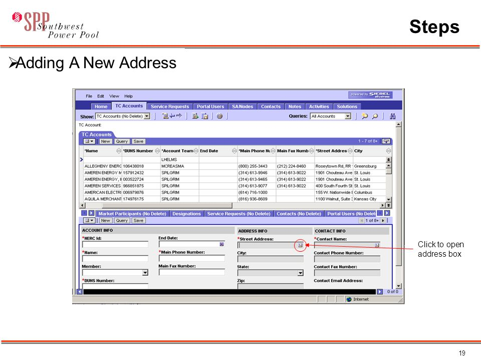 19 Steps Click to open address box  Adding A New Address