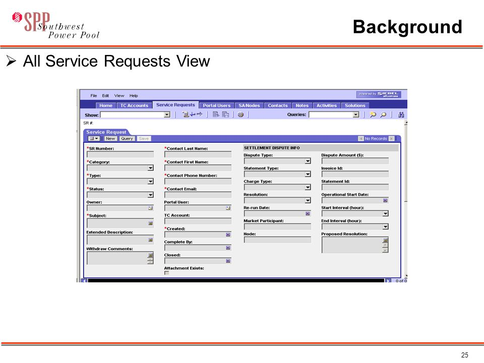 25 Background  All Service Requests View