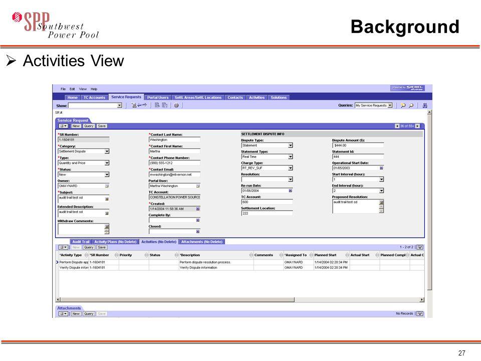 27 Background  Activities View