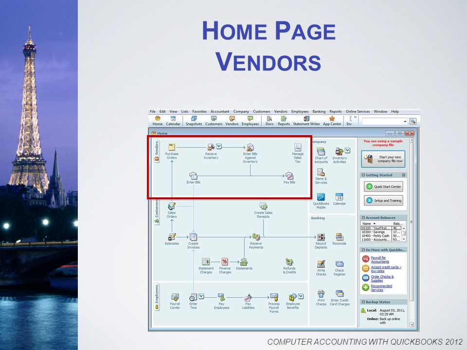 H OME P AGE V ENDORS COMPUTER ACCOUNTING WITH QUICKBOOKS 2012