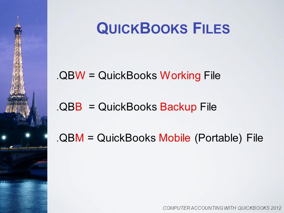 Q UICK B OOKS F ILES.QBW = QuickBooks Working File.QBB = QuickBooks Backup File.QBM = QuickBooks Mobile (Portable) File COMPUTER ACCOUNTING WITH QUICKBOOKS 2012