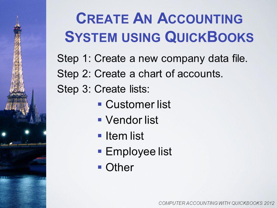 C REATE A N A CCOUNTING S YSTEM USING Q UICK B OOKS Step 1: Create a new company data file.