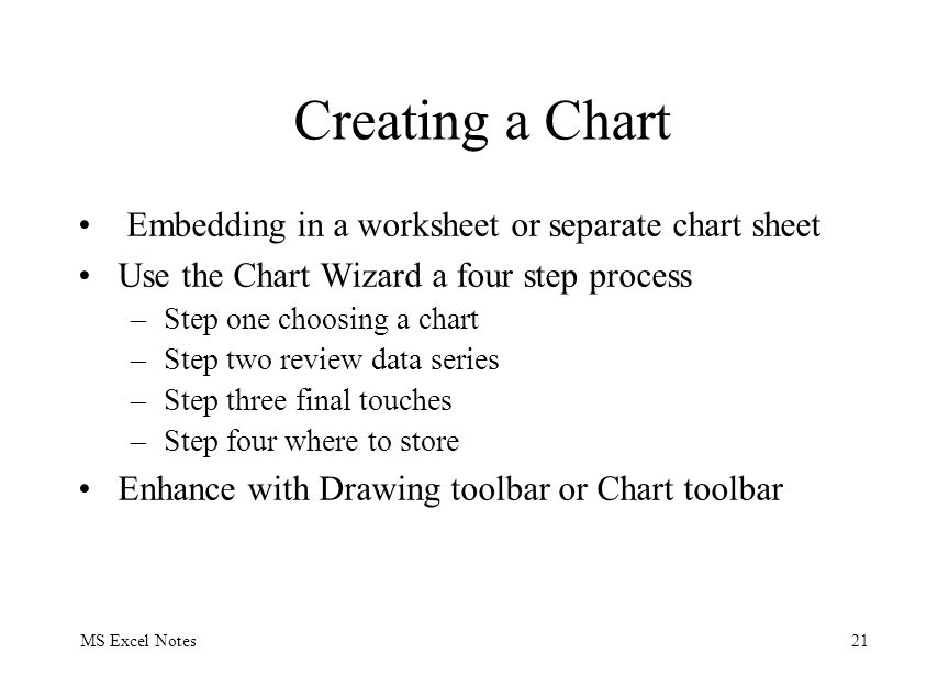 MS Excel Notes21 Creating a Chart Embedding in a worksheet or separate chart sheet Use the Chart Wizard a four step process –Step one choosing a chart
