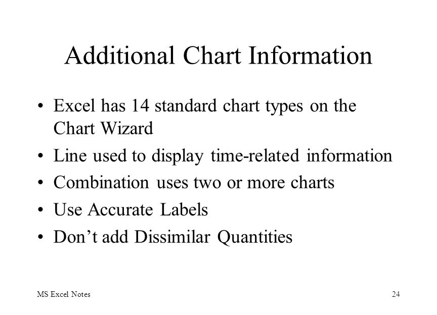 MS Excel Notes24 Additional Chart Information Excel has 14 standard chart types on the Chart Wizard Line used to display time-related information Combination uses two or more charts Use Accurate Labels Don't add Dissimilar Quantities