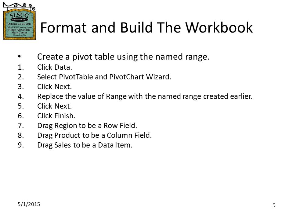 5/1/2015 10 Format and Build The Workbook