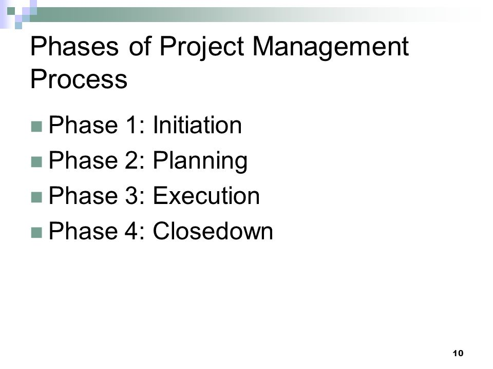 Phases of Project Management Process Phase 1: Initiation Phase 2: Planning Phase 3: Execution Phase 4: Closedown 10