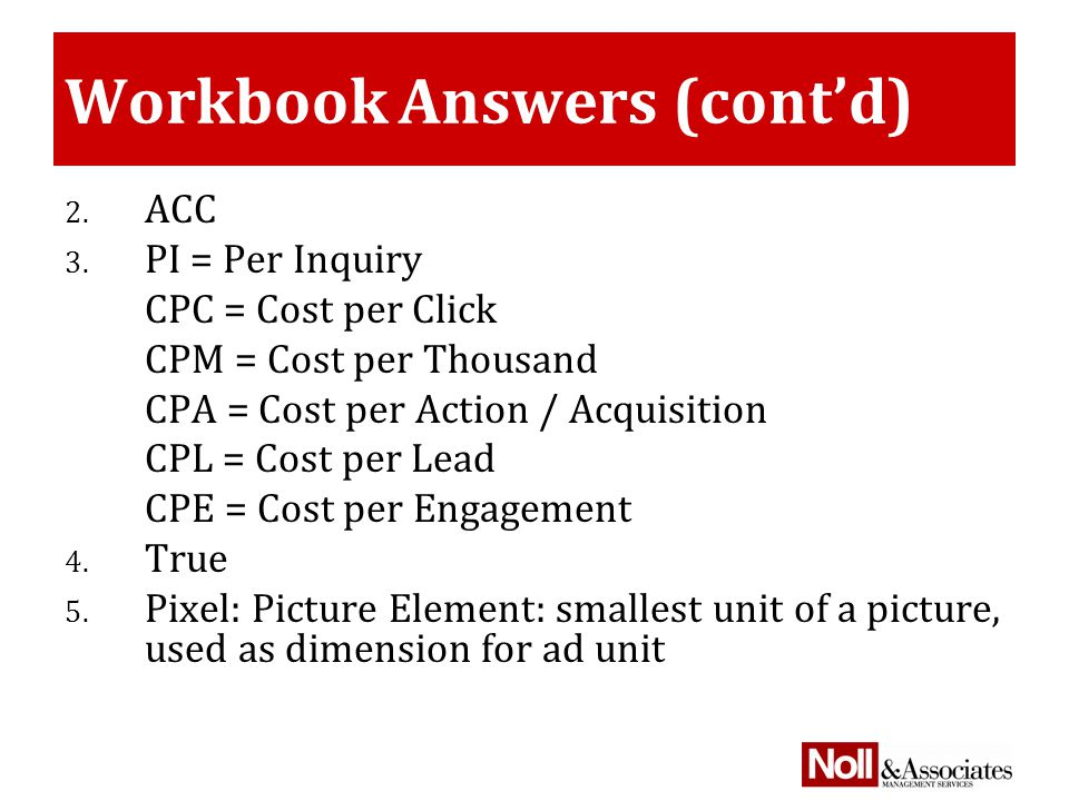 Workbook Answers (cont'd) 2. ACC 3.