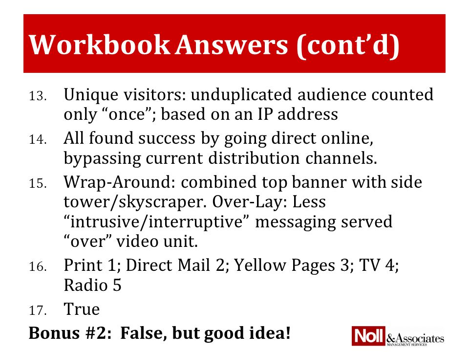 Workbook Answers (cont'd) 13.