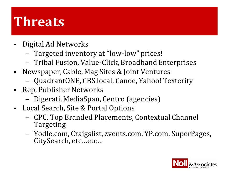 Threats  Digital Ad Networks –Targeted inventory at low-low prices.