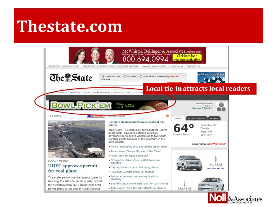 Thestate.com Local tie-in attracts local readers