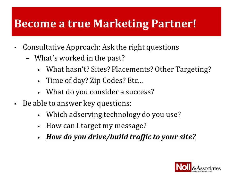 Become a true Marketing Partner.
