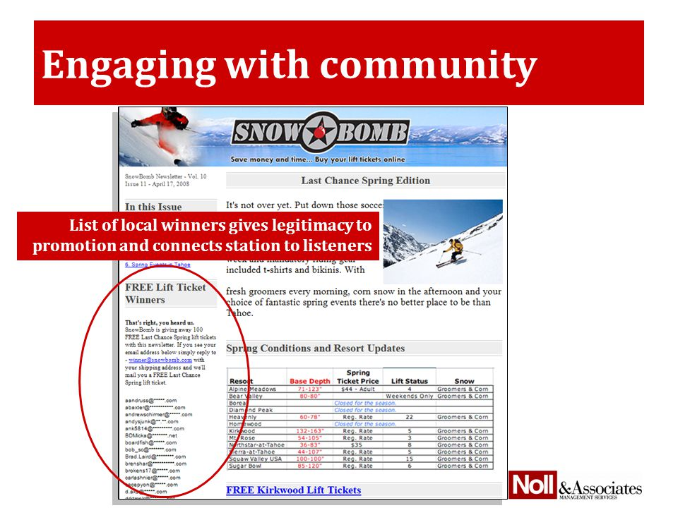 Engaging with community List of local winners gives legitimacy to promotion and connects station to listeners