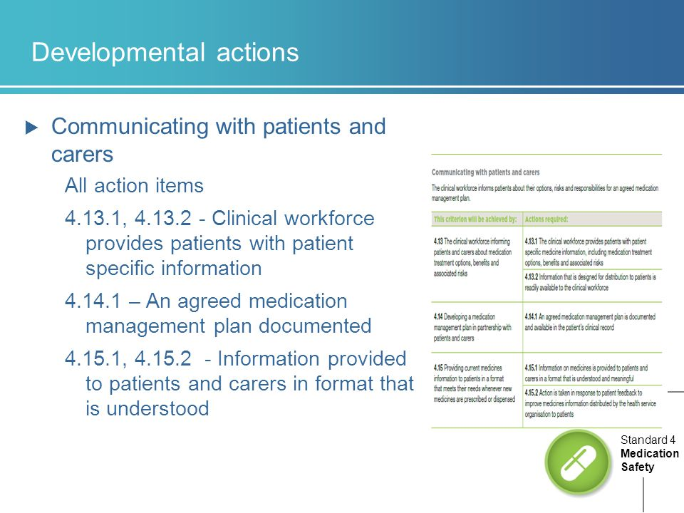 Developmental actions  Communicating with patients and carers All action items 4.13.1, 4.13.2 - Clinical workforce provides patients with patient specific information 4.14.1 – An agreed medication management plan documented 4.15.1, 4.15.2 - Information provided to patients and carers in format that is understood Standard 4 Medication Safety