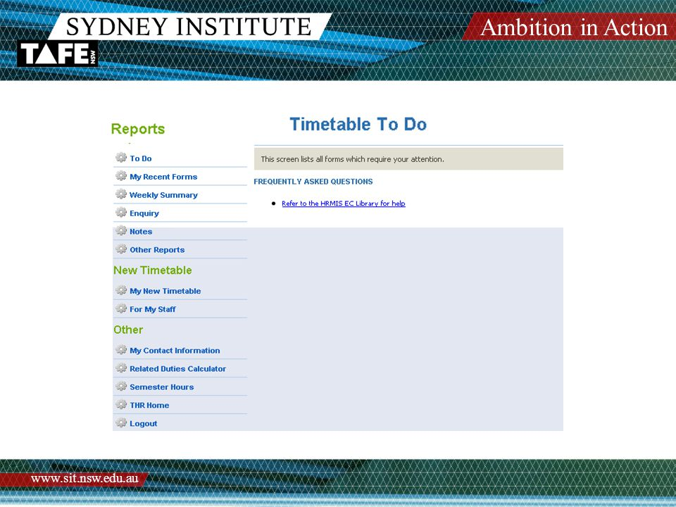 Ambition in Action www.sit.nsw.edu.au