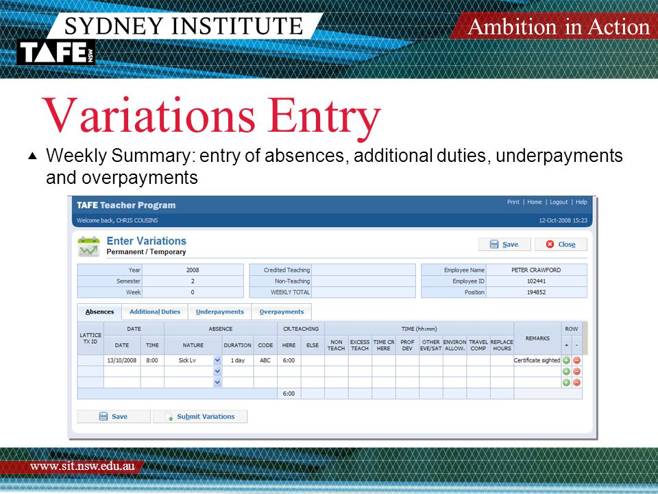 Ambition in Action www.sit.nsw.edu.au Variations Entry  Weekly Summary: entry of absences, additional duties, underpayments and overpayments