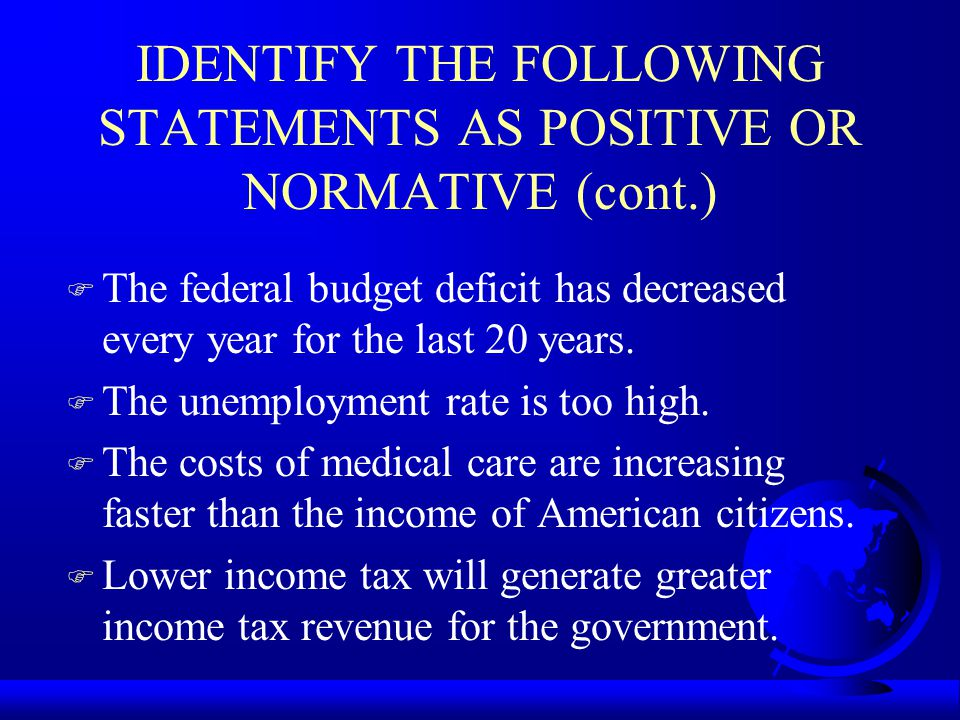 IDENTIFY THE FOLLOWING STATEMENTS AS POSITIVE OR NORMATIVE (cont.) F The federal budget deficit has decreased every year for the last 20 years. F The
