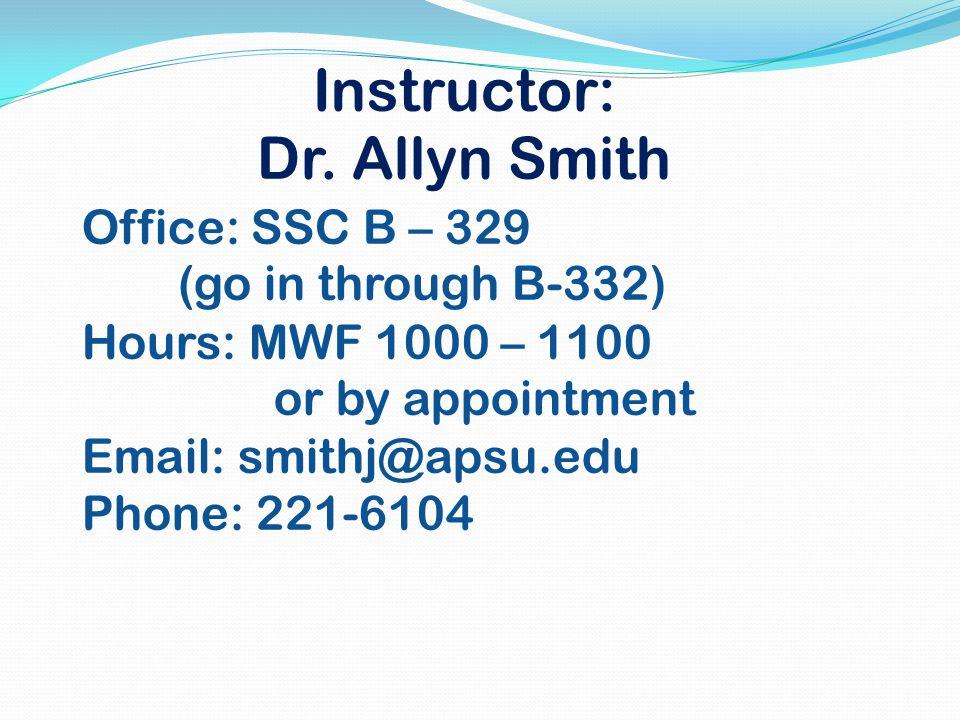 Instructor: Dr.