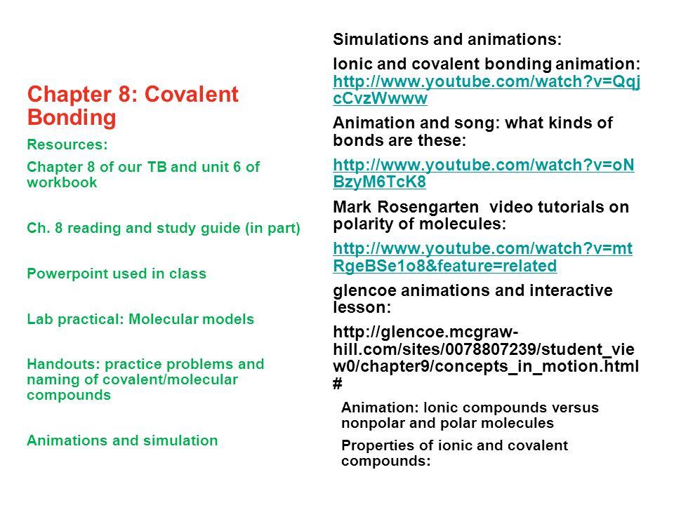 Chapter 8: Covalent Bonding Types of Bonding ? (review)