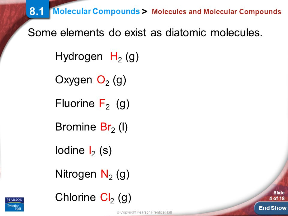End Show © Copyright Pearson Prentice Hall Molecular Compounds > Slide 4 of 18 Molecules and Molecular Compounds Some elements do exist as diatomic mo