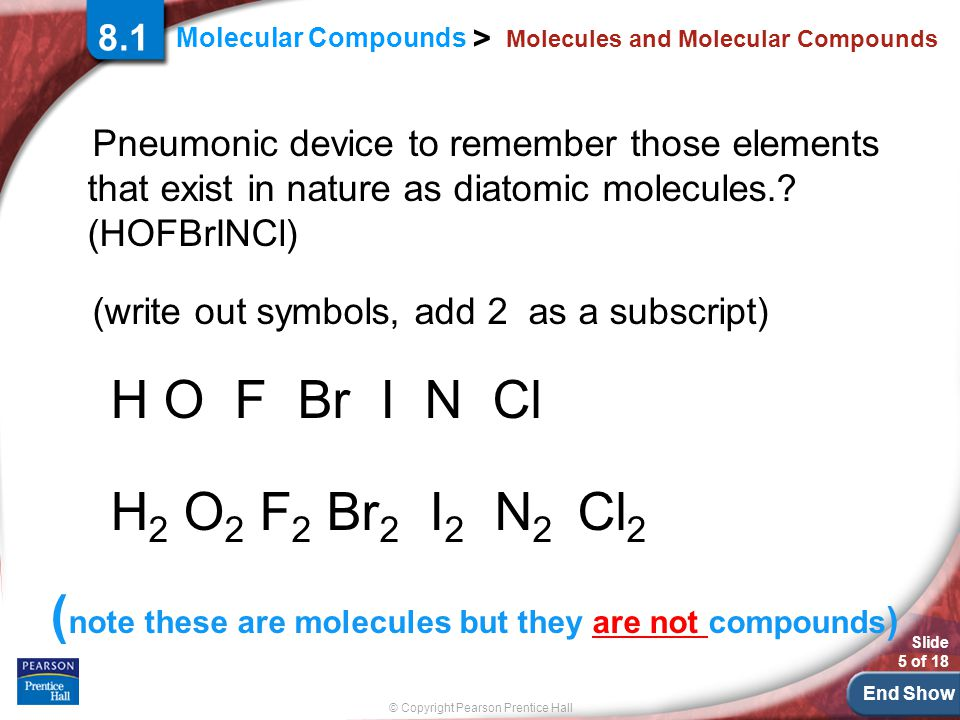 End Show © Copyright Pearson Prentice Hall Molecular Compounds > Slide 5 of 18 Molecules and Molecular Compounds Pneumonic device to remember those el