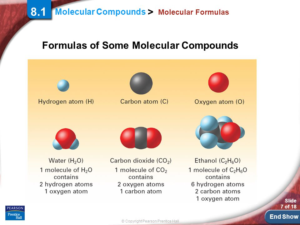 End Show © Copyright Pearson Prentice Hall Molecular Compounds > Slide 18 of 18 8.1 Molecules and Molecular Compounds How are the melting points and boiling points of molecular compounds different from those of ionic compounds?