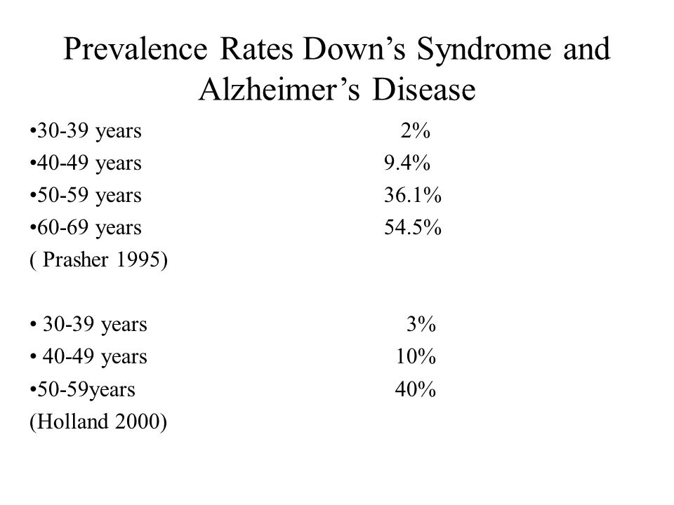 Prevalence Rates Down's Syndrome and Alzheimer's Disease 30-39 years 2% 40-49 years 9.4% 50-59 years 36.1% 60-69 years 54.5% ( Prasher 1995) 30-39 years 3% 40-49 years 10% 50-59years 40% (Holland 2000)