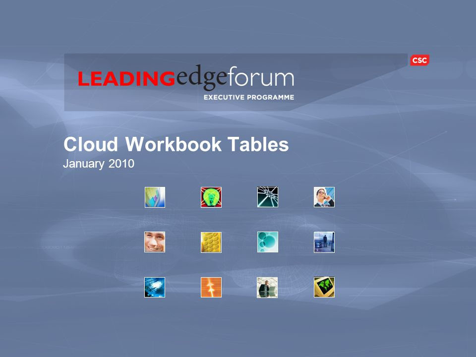 Cloud Workbook Tables January 2010