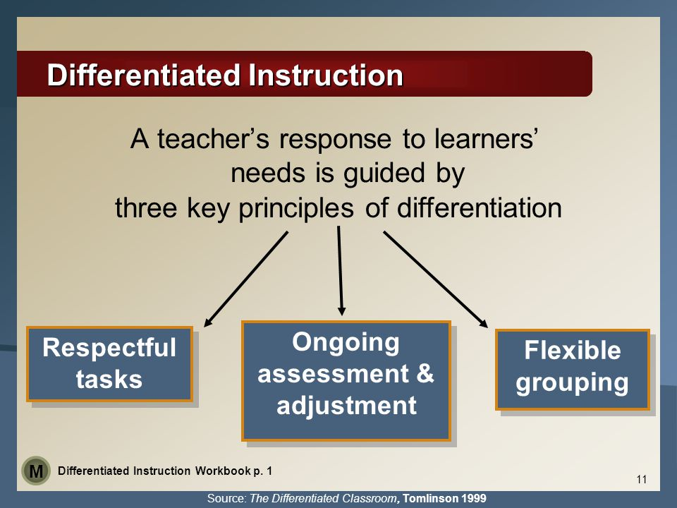 Differentiated Instruction A teacher's response to learners' needs is guided by three key principles of differentiation Respectful tasks Flexible grou