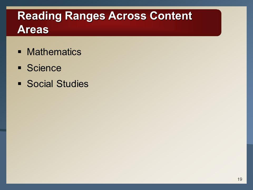 Reading Ranges Across Content Areas  Mathematics  Science  Social Studies 19