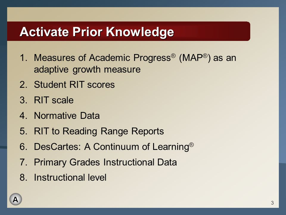 Activate Prior Knowledge 1.Measures of Academic Progress ® (MAP ® ) as an adaptive growth measure 2.Student RIT scores 3.RIT scale 4.Normative Data 5.