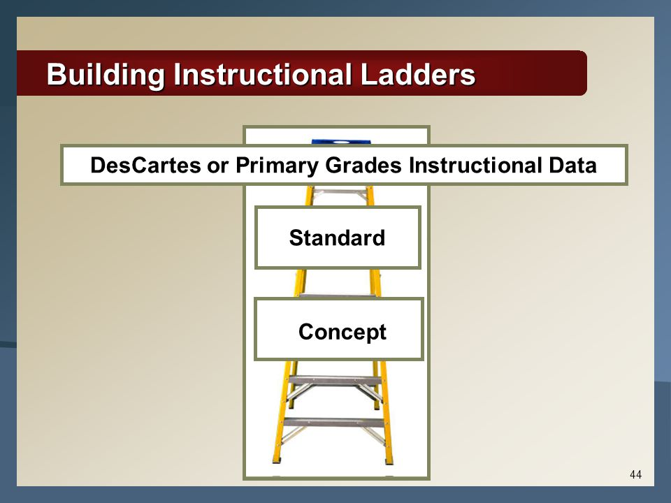Building Instructional Ladders Standard DesCartes or Primary Grades Instructional Data Concept 44