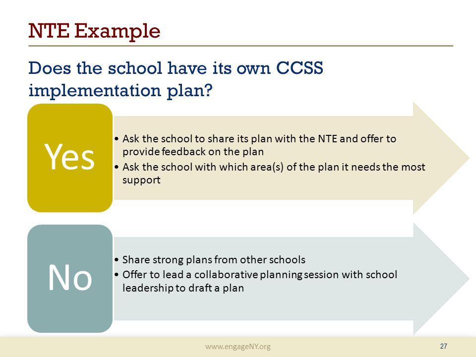 www.engageNY.org NTE Example Does the school have its own CCSS implementation plan.