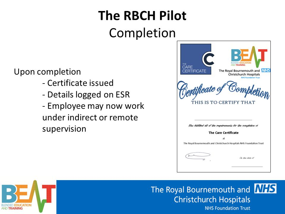The RBCH Pilot Lessons Learnt Over 100 new employees on programme Risks -Cultural shift -Time to complete workbook -Bank and part time staff -Non-mandatory (currently)
