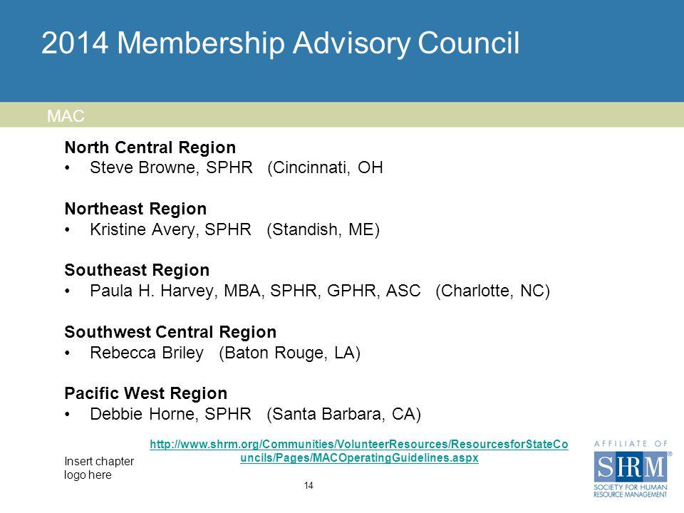 Insert chapter logo here 2014 Membership Advisory Council North Central Region Steve Browne, SPHR (Cincinnati, OH Northeast Region Kristine Avery, SPHR (Standish, ME) Southeast Region Paula H.