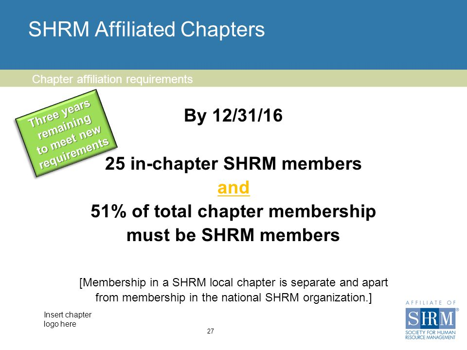 Insert chapter logo here SHRM Affiliated Chapters By 12/31/16 25 in-chapter SHRM members and 51% of total chapter membership must be SHRM members [Membership in a SHRM local chapter is separate and apart from membership in the national SHRM organization.] 27 Chapter affiliation requirements Three years remaining to meet new requirements Three years remaining to meet new requirements