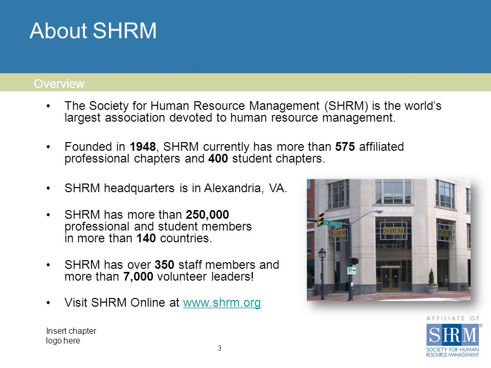 Insert chapter logo here About SHRM 3 Overview The Society for Human Resource Management (SHRM) is the world's largest association devoted to human resource management.