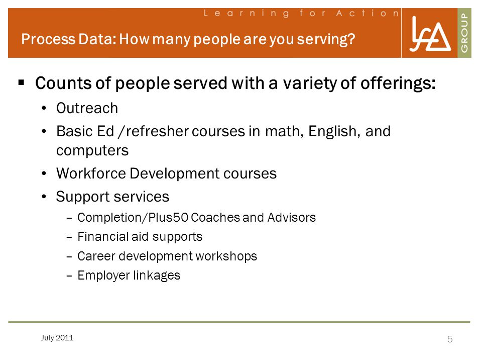 5 July 2011 Process Data: How many people are you serving.